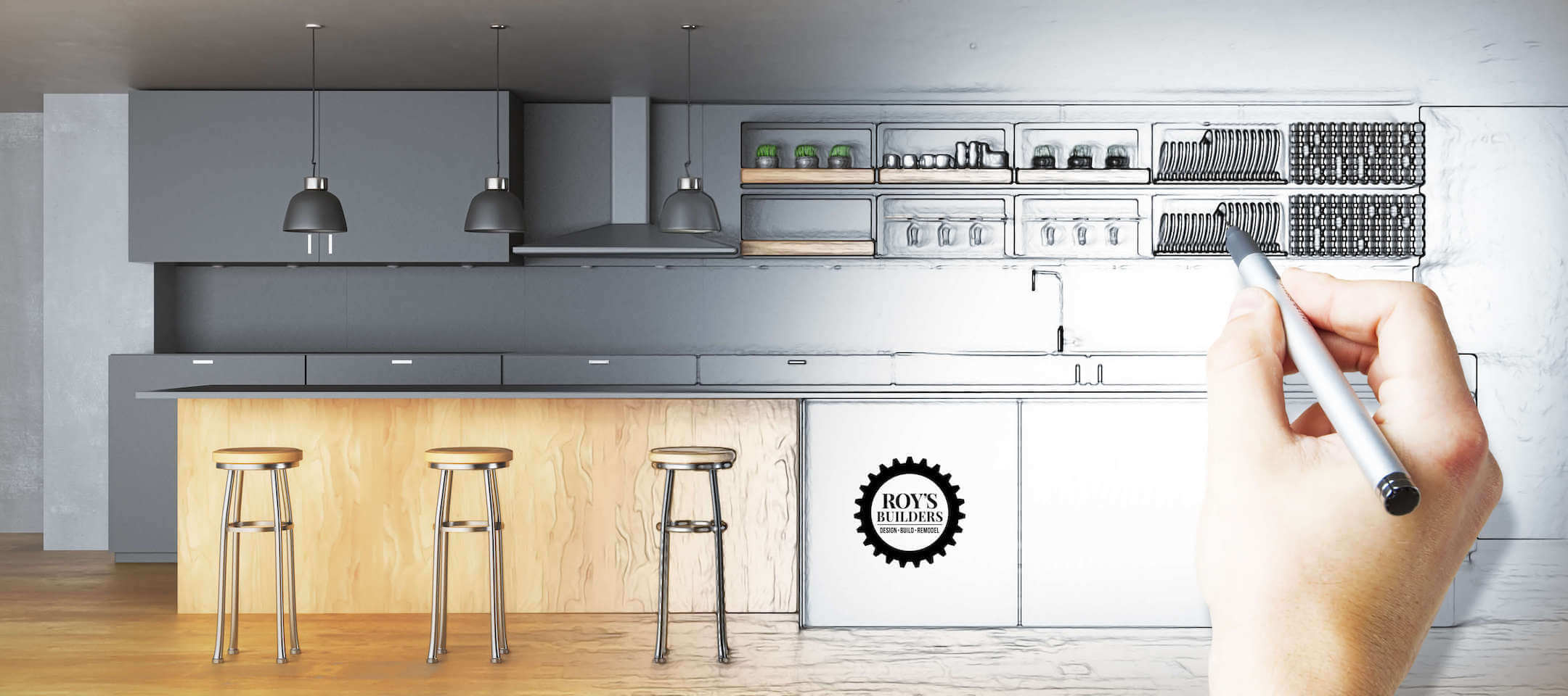 Hand drawing unfinished kitchen. Plan concept. 3D Rendering - Illustration-2-2